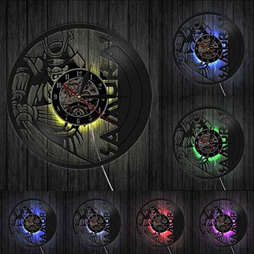 ACDFR Wanduhr Krieger Wandkunst Wanduhr Schallplatte Uhr Bushido Wall Decor Kultur Enthusiasten GeschenkMit LED