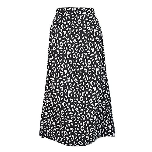 Temperamento De Primavera Y Verano Falda Dividida con Estampado De Leopardo para Mujer Falda De Longitud Media De Cintura Alta con Cremallera
