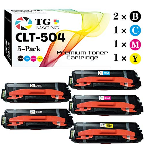 (5-Pack, Extra Black) TG Imaging Compatible CLT-504S CLT504S Toner Cartridge for use in Samsung 504s SL-C1860FW SL-C1810W CLP-415NW CLX-4195FW Printer