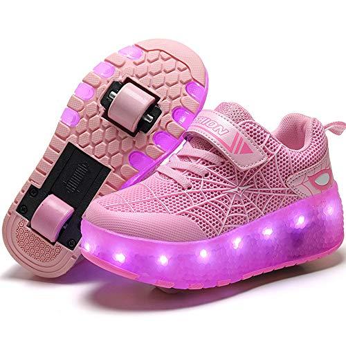 ZRZJBX Kinder LED Rollenschuhe mit Rollen LED Lichter Blinken Rollschuh Skates Schuhe Outdoor Gymnastik Sneaker Mode Skateboardschuhe für Jungen Mädchen,Pink-32#