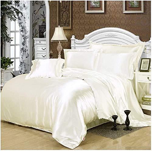 SATIN 6pc SUPER KING SIZE bed Duvet Cover Bedding Set CREAM
