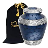 MEMORIALS 4U Memorials4u Elite Cloud Blue and Silver Cremation Urn for Human Ashes - Adult Funeral Urn Handcrafted - Affordable Urn for Ashes - Large Urn Deal.