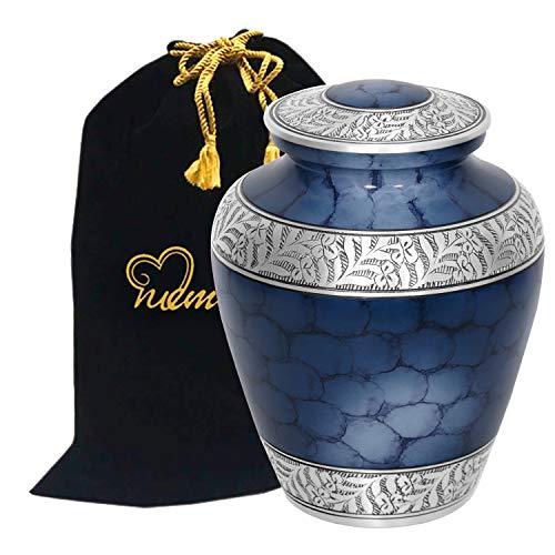 MEMORIALS 4U Memorials4u Elite Cloud Blue and Silver Cremation Urn for Human Ashes - Adult Funeral Urn Handcrafted - Affordable Urn for Ashes - Large Urn Deal.
