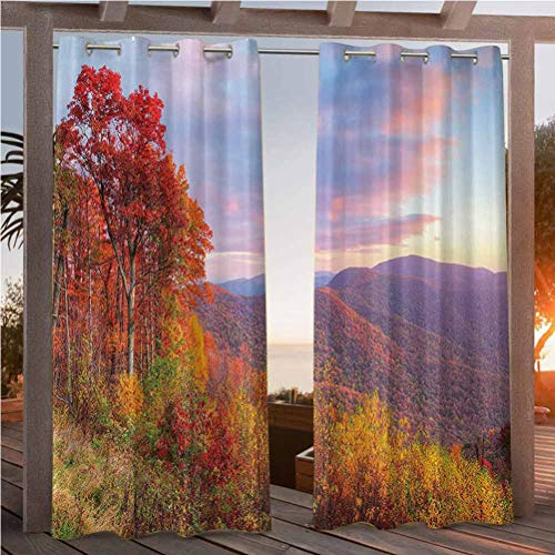 112' W by 95' L(K284cm x G241cm) Apartment Decor Collection Patio Curtains for Kids Room Sunrise with Stunning Sky Colors in Autumn Falls at South Western Village Scenery