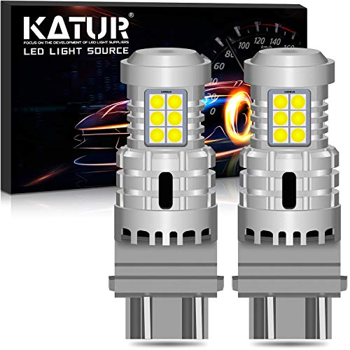 KATUR 3157 3057 T25 P27/7W Bombillas LED Superbrillantes 12pcs 3030 y 8pcs 3020 Chips Canbus Error Señal de Giro Libre Freno Trasero Cola de estacionamiento Luces,Xenón Blanco(Paquete de 2)