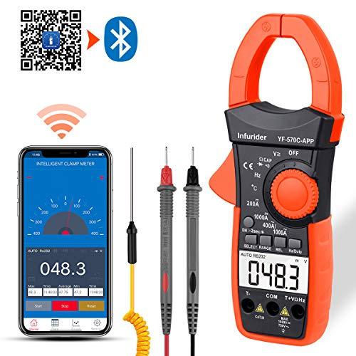 Preisvergleich Produktbild Digital Clamp Meter 4000 Zählt automatisch wechselnde AC-DC-Multimeter zur Messung von Spannung,  Verstärker,  Widerstand,  Kapazität,  Temperatur und Kontinuität mit APP über Bluetooth