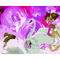 ナンバーキットでペイント DIYの油絵 大人用キッズビギナー40x 50cm(フレームなし)-ローズ&スワン