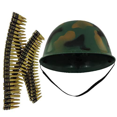 Childs Camo Army Soldier Combat Costume Helmet with Bullet Belt Costume Set