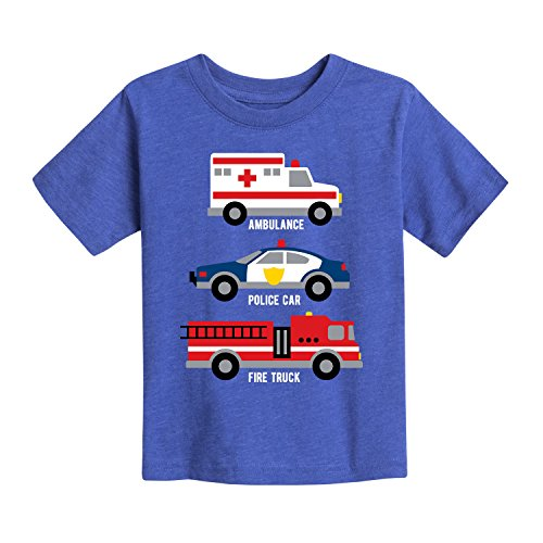 Instant Message First Responder Vehicles - Toddler Short Sleeve Tee Royal Blue