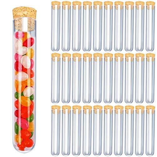30 PCS Tubos de Ensayo Plástico 15ml Tubo de Ensayo Transparente con Tapones de Corchopara Almacenamiento de Confitería, Especias, Líquidos Manuaildad de Artesanía Decoración