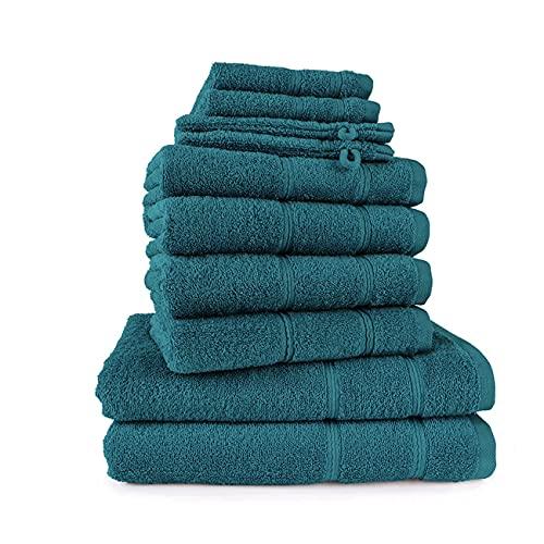 Merkanta Handtuch Set Petrol | 10 teilig | 2 Gästetücher 4 Handtücher 2 Badetücher 2 Waschlappen | 100% Baumwolle | Badetücher | Bath Towel | Handtücherset Badezimmer | Bad Tücher