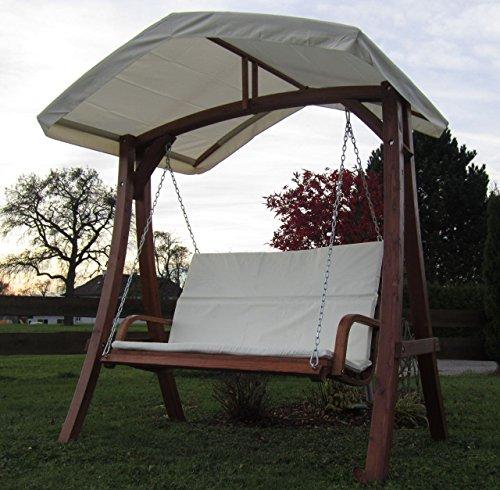 ASS Design Hollywoodschaukel Gartenschaukel Schaukelbank KUREDO mit Dach aus Holz Lärche - 6
