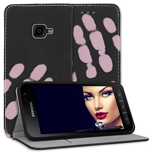 mtb more energy® Funda Termo para Samsung Galaxy Xcover 4, 4S (SM-G390F, G398F / 5.0'') - Cambio de Color por Calor - Negro/Rosa - Cuero sintético - Bookstyle Cover Case