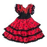 La Senorita Robe Espagnol Flamenco / Costume Niño Luxe - pour filles / enfants - Rouge Noir (Taille 4, 92-98 - Longeur 65 cm -3-4 ans)