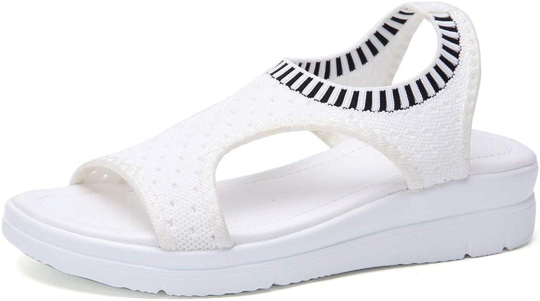 DBQWTY Women's Comfortable Net Cloth Open Toe Slope Heel Sandals Summer Leisure Outdoor Hiking Sandals