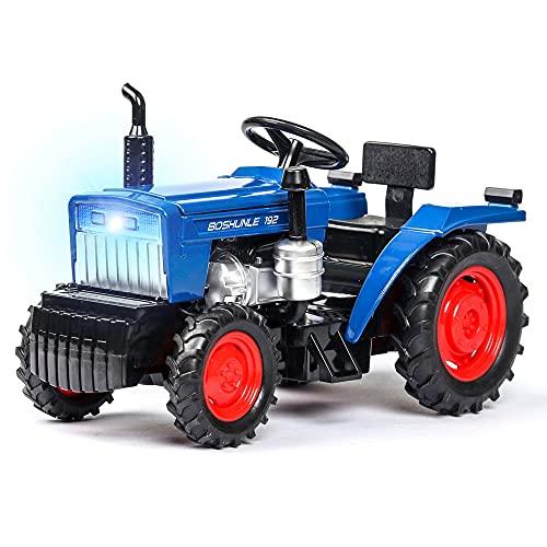 Zpzzy Simulación para niños 1:32 Modelo de tractor agrícola con sonido y luz Apertura de la puerta Función de retroceso Carcasa del automóvil Aleación Parte inferior del automóvil Rueda de plástico Go