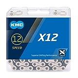KMC Unisex– Erwachsene Fahrrad Kette X12 schwarz 12-Fach,Silber, 126 Glieder 1/2x11/128,SB-Verpackung