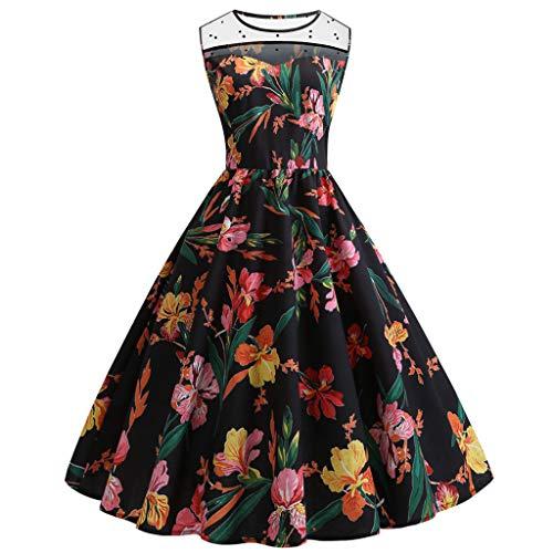 AIni Damen Vintage ÄRmelloses Elegant 1950er Jahre Petticoat Kleider Print Stil Rockabilly Kleider Cocktailkleider