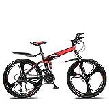 SYCHONG Bicicleta Plegable Hombres Y Mujeres Carreras Off-Road 27 Velocidad De Doble Disco De Freno Suspensión Suspensión Tenedor Trasera Antideslizante (26 A),1red