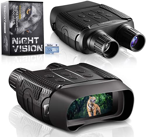 """Night Vision and Day Binoculars for Hunting in 100% Darkness - Digital Infrared Goggles Military for Viewing 984ft/300M in Dark with 2.31"""" LCD Screen, Take Day Night IR Photos Video 32G TF Card Adults"""