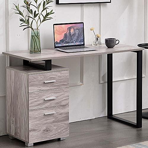 BAKAJI Escritorio con cajonera, 3 cajones, mesa de trabajo, porta ordenador, de madera con estructura de acero, diseño moderno, 120 x 50 x 75 cm, decoración para casa, oficina, dormitorio (gris)