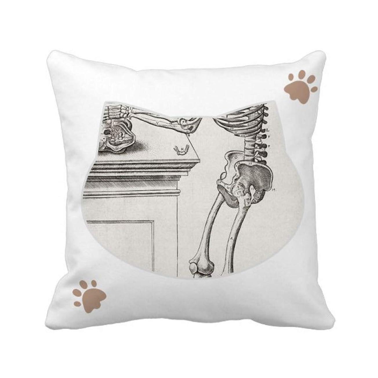 平方二十病者人間の身体装飾の骨格パターン 枕カバーを放り投げる猫広場 50cm x 50cm