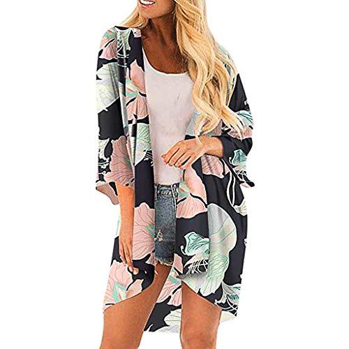 IHEHUA Damen Chiffon Floral Kimono Leicht Sommer Cardigan 3/4 Arm Beach Cover Up Boho Strand Tops Shawl Bluse Beachwear Bikini Leichte Jacke Oberteil(A-Mehrfarbig,XXL)