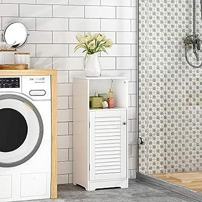 HOME BI Bathroom Storage Floor Cabinet Free Standing with Shutter Door (White)