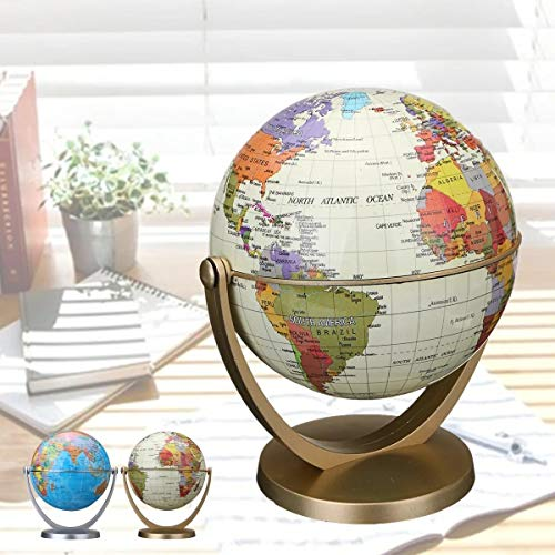 DIY Wood Crafts Science Experiments Earth Ocean Globe World Geography Map Table Desktop 360 Dregee Rotating Globes DIY Kits for Adults Science Kits (Color: : Gold)
