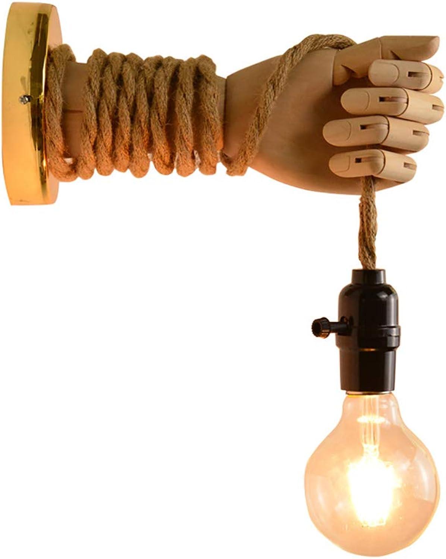 Wandleuchte Retro mit Schalter Verstellbar Holz Wandlampe Antik DIY Hanfseil Lampen Landhausstil Wandbeleuchtung für Treppenhaus Flur Cafe Bar Hotel, E27 Lampenfassung