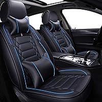 車用シートカバー 汎用 (前席+後席)カーシートカバー ユニバーサルカーシートカバークッションプロテクトカバーPUレザーフロント&リア(5シート)フルセット、2ウエスト枕2ヘッドレスト枕、  95%SUVセダントラックにうまくフィット,ブラック+ブルーラグジュアリー