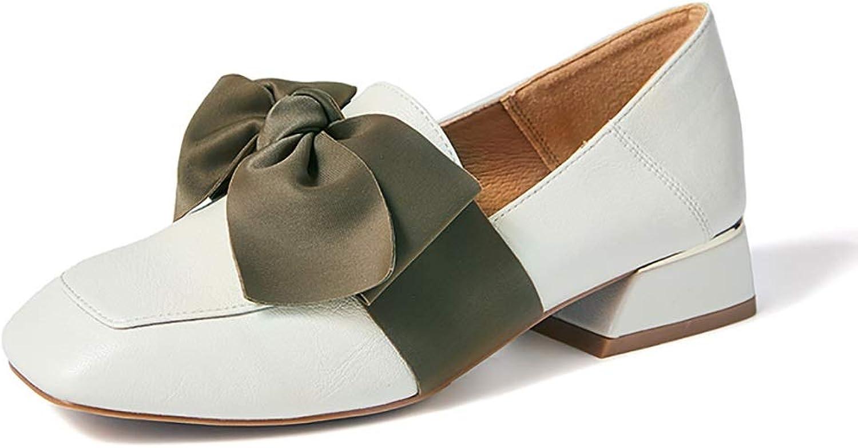 Damenschuhe YXX damen Spring Square Toe Bow Slip On Loafers Schuhe, Damen Oxford Mid-Heel Schuhe zum Gehen (Farbe   Weiß, größe   37)    Der Schatz des Kindes, unser Glück