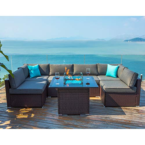 COSIEST 7-Piece Propane Fire Pit Outdoor Wicker Sectional Sofa Set, Chocolate Brown Patio Furniture Set w 36-inch Square Fire Table (40,000 BTU), Glass Wind Guard, Internal Tank Storage