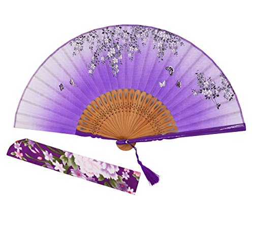 Sthuahe - Abanico clásico de seda para mujer tallado y pintado a mano, abanico chino/japonés, regalo de boda, para bailes, abanico de princesa, 21 cm, Morado