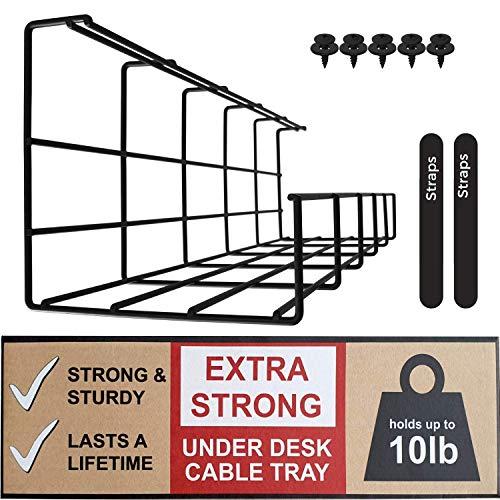 Kabelkorf voor Onder het Bureau - Kabels Organiseren en Draden Beheren. Metaaldraad Kabelkorf voor op Kantoor en Thuis (Zwart - Enkel 40,5cm)