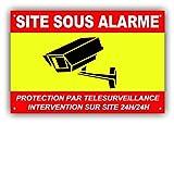 Panneau de Télésurveillance SITE sous Alarme en PVC + 4 Trous avec Texte : Protection par télésurveillance - Intervention sur site 24H/24H - CRJ (300 x 200 mm)