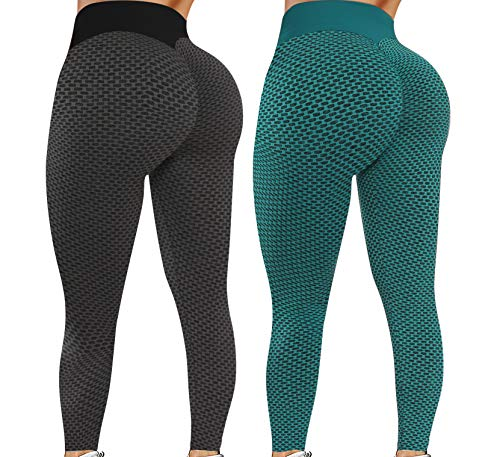 Reosse Leggings for Women - 2 Pack High Waist Yoga Pants for Women Tummy Control Slimming Booty Leggings Workout Athletic Running Lifting Tights