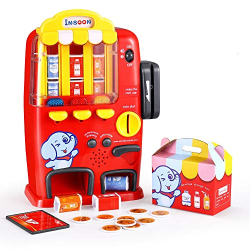 INSOON Interactive Vending Machine Toy Activity Toy for 2 3 4 5 6 Years Old Kids Pretend Play for Toddler Light and Sound Drink Machine Toy Early Development Toy Gift for Boys Girls