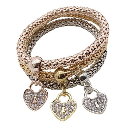N\C 3 Piezas de Pulseras de Moda para Mujer, Conjunto de Brazalete de Cadena de Maíz con Diamantes de Imitación, Joyería - Corazón, como se Describe