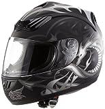 Protectwear H510-11SW-S Motorradhelm, Integralhelm mit Drachendesign, Größe S, Schwarz/Silber