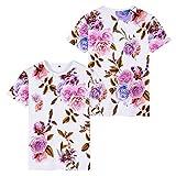 ACEGI – T-Shirt im chinesischen Stil – Motiv Vögel rosa – Bedruckt – kurzärmliges T-Shirt – Strand-Shorts Cool Gr. 56, 13