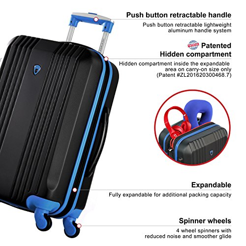 Olympia Apache Ii 21' Carry-on Spinner, BLACK+BLUE, One Size