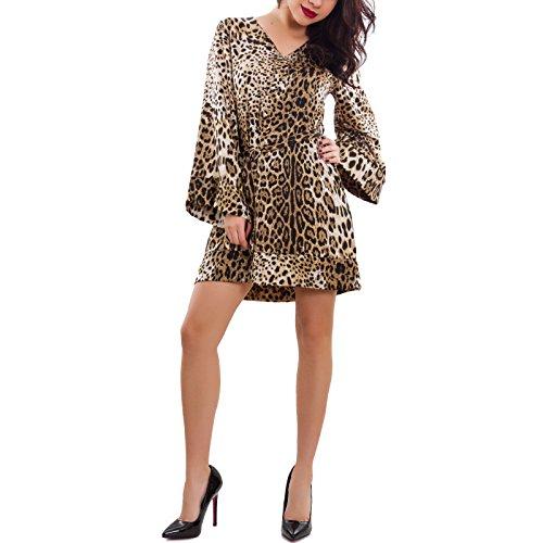 Toocool - Vestito Donna Abito Leopardato Maniche Campana Raso Cinta Sexy Nuovo GI-21795 [Taglia Unica,Leopardato]