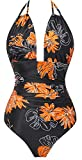 I2CRAZY Bathing Suits for Women Plus Size Deep V Plunge Swimsuits High Waisted Monokinis - XL,Flower-04