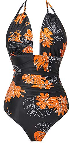 I2CRAZY Slimming Swimsuits for Women Vintage Push up One Piece Swimsuit Plus Size Swimwear - 2XL,Flower-04