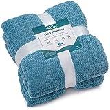 """HBlife Microfiber Luxury Flannel Fleece Blanket Queen Size, Super Soft & Cozy Waffle Weave Pattern Plush Blanket for, 90"""" x 90"""" Slate Blue"""