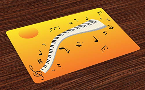 ABAKUHAUS Muzieknoot Placemat Set van 4, Joyous Sunset Sleutels van de piano, Wasbare Stoffen Placemat voor Eettafel, Geel oranje