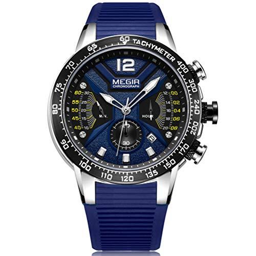 Megir Reloj de pulsera para hombre, deportivo, azul, correa de silicona, grande y negra,...