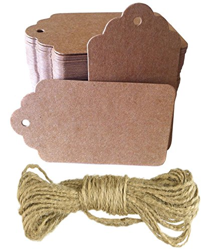 Brown Kraft Tags with Jute Twine - for Use As Gift Tags, Wedding Favor Tags, Product Label/Price Tags or for Scrapbooking and Various Arts & Crafts and Homemade Projects by Sacar Stationery (50pcs)