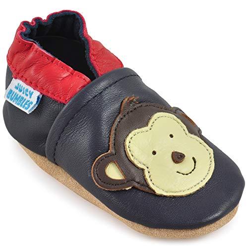 Juicy Bumbles - Weicher Leder Lauflernschuhe Krabbelschuhe Babyhausschuhe mit Wildledersohlen. Junge Mädchen Kleinkind- Gr. 12-18 Monate (Größe 22/23)- Affe